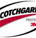 The Scotchgard 3M Protector logo with black writting, white background and red tarten paterned underline