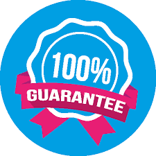 Our seal of approval 100% money back guarantee: Blue circle with white stamped 100% and pink ribben
